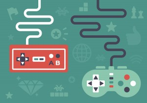 Gaming controllers and game icons and symbol elements.